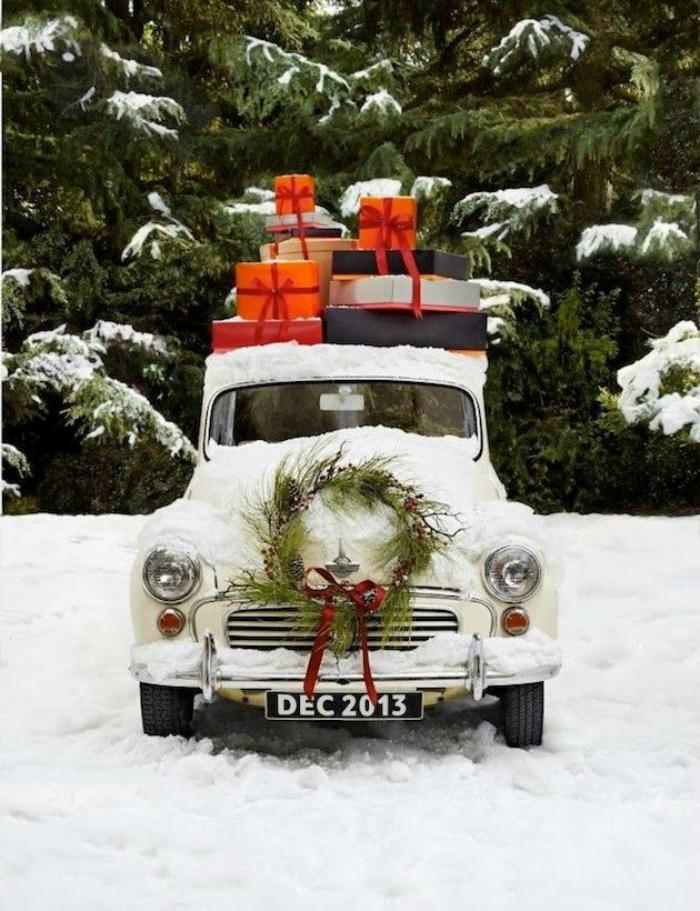 Vintage Holiday Christmas Car