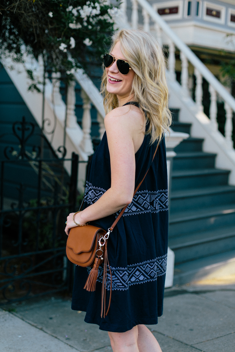 Navy Embroidered Gap Dress with Old Navy Sandals + Rebecca Minkoff Bag.