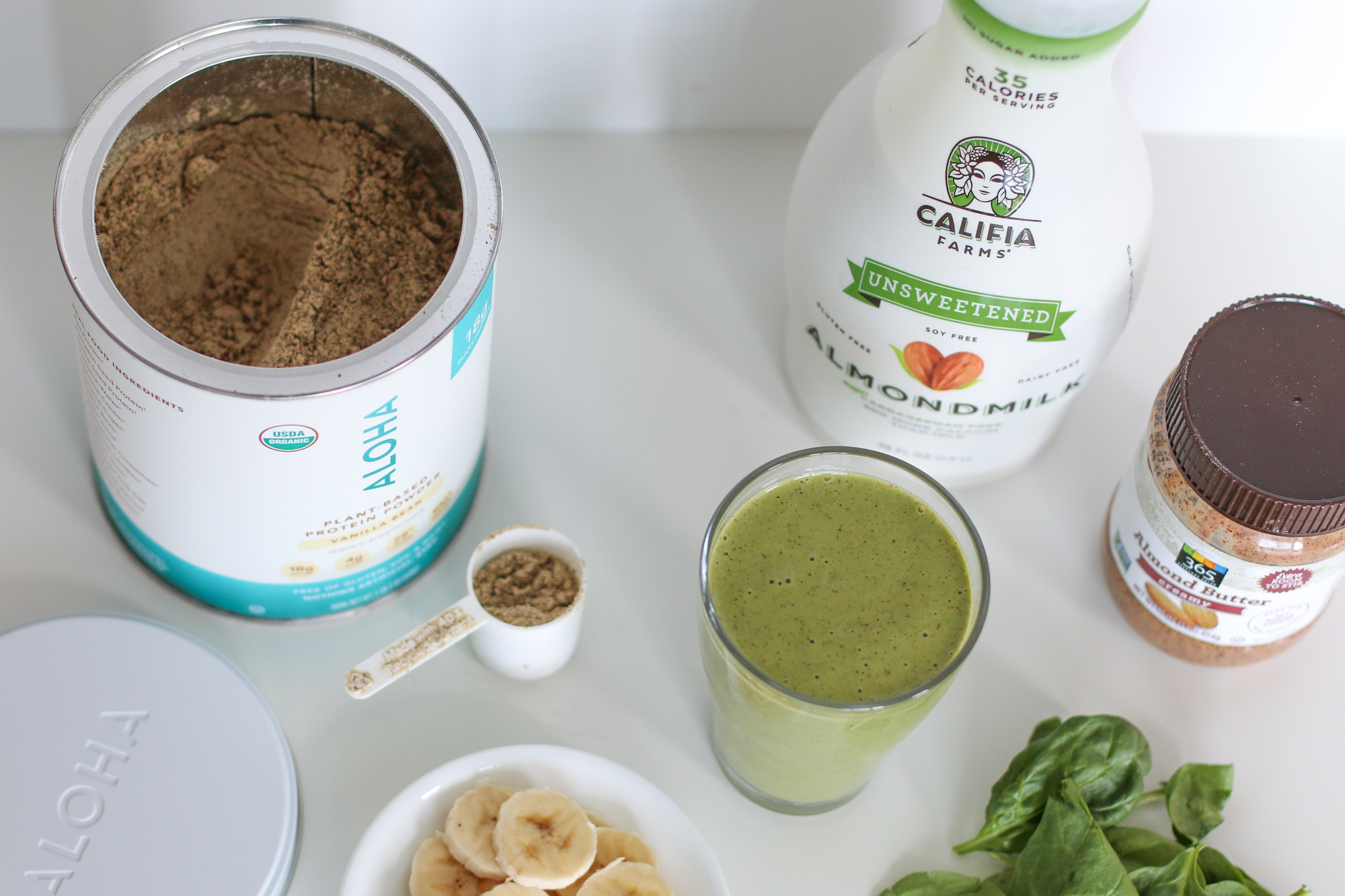 Banana Spinach Protein Smoothie.