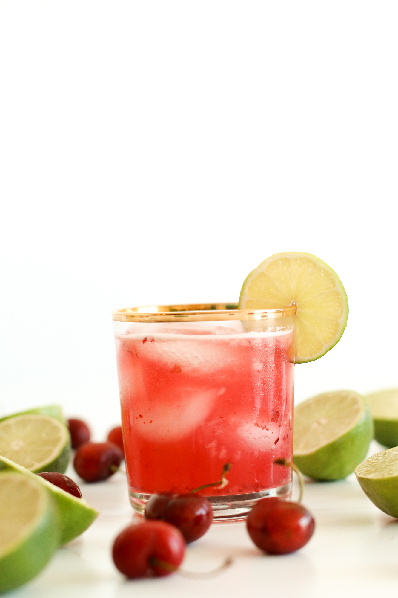 Cherry Lime Margaritas Recipe using IZZE Sparkling Cherry Lime.