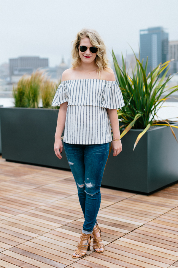 Striped Banana Republic Off the Shoulder Top with Destroyed Denim.