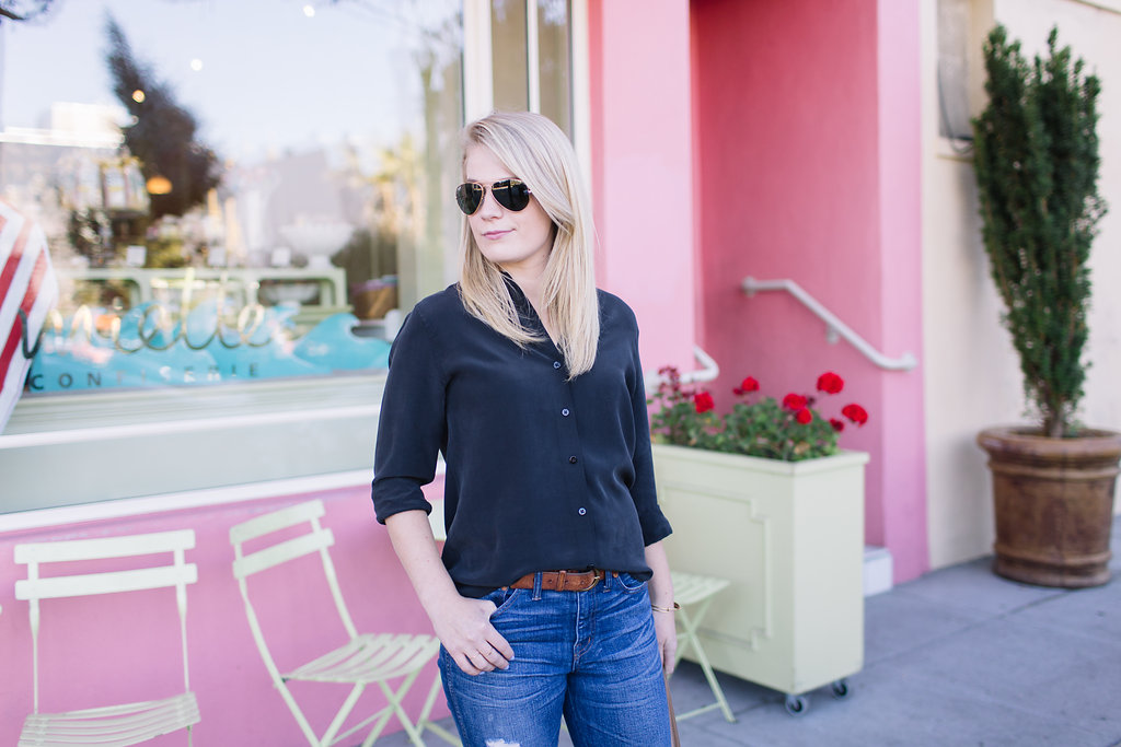 Everyday Uniform // Everlane silk top with Madewell denim and ankle boots.