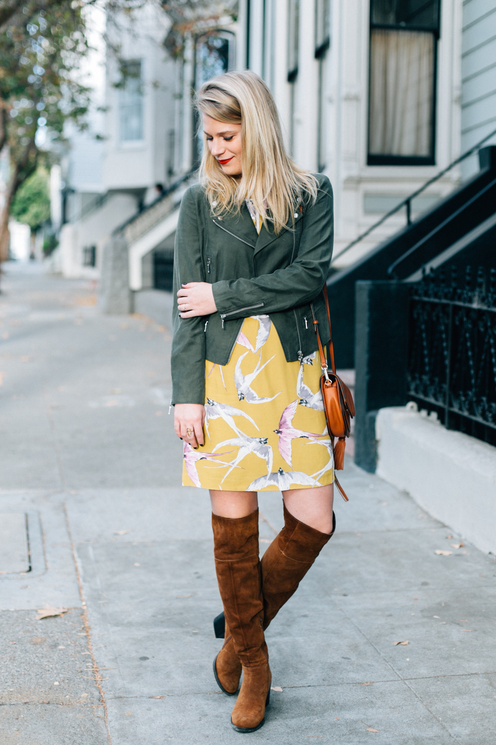 Fall Outfit Inspiration // Ann Taylor Shift Dress with Olive Club Monaco Moto Jacket and Steve Madden Over the Knee Boots.