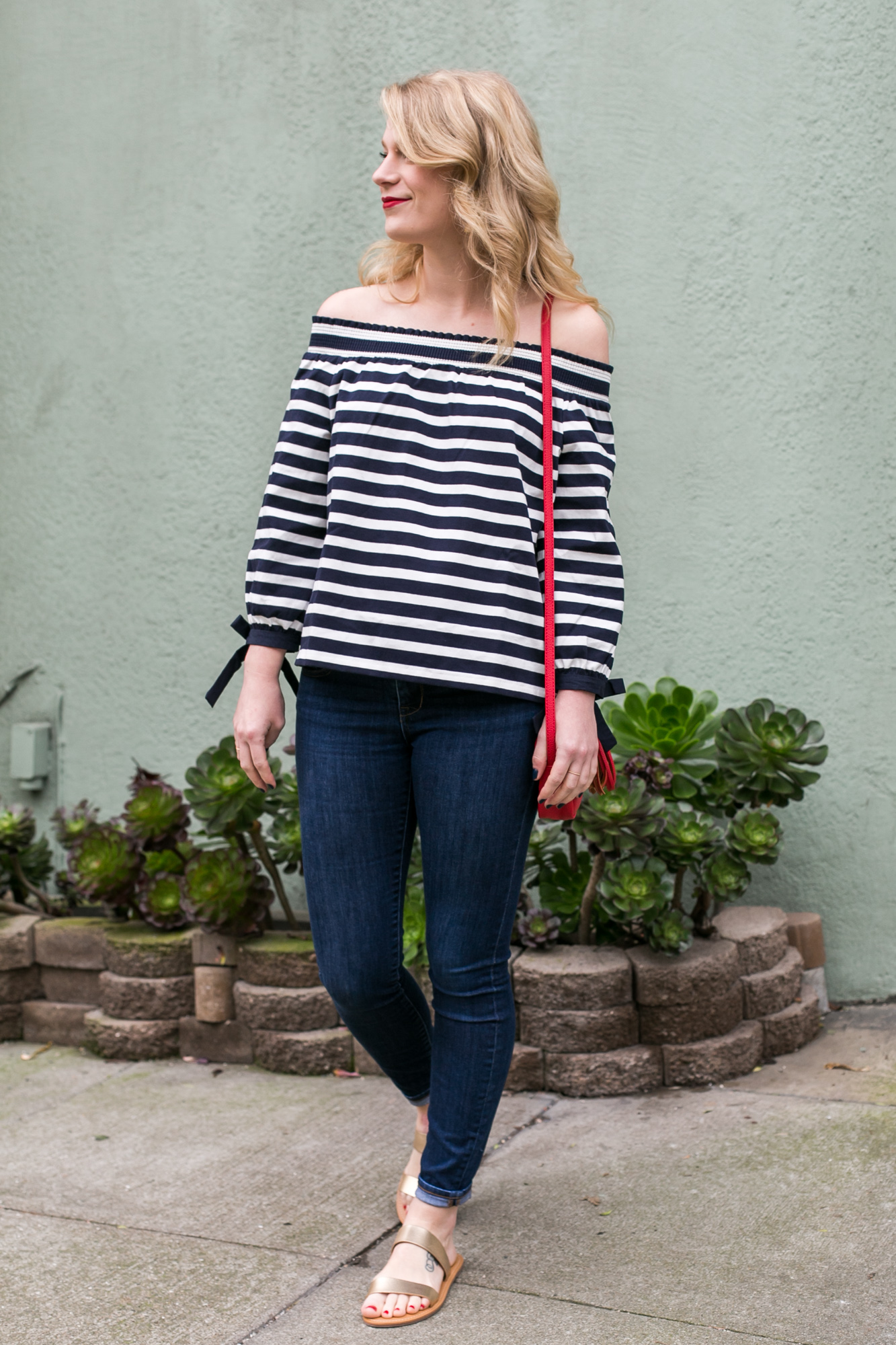 Stripes & Bows J. Crew Off The Shoulder Top.