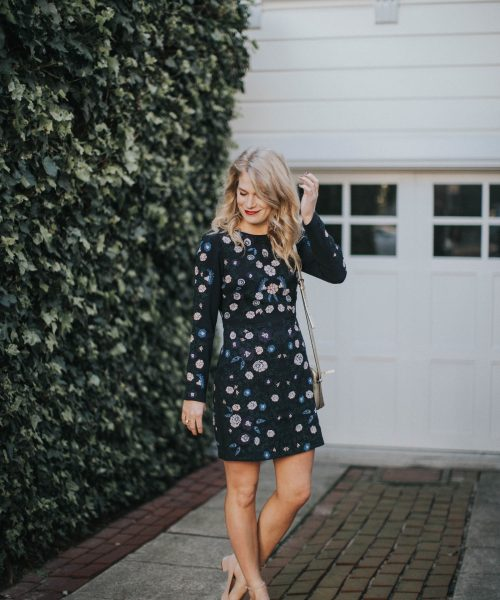 Floral Club Monaco Dress with Suede Blush Steve Madden Heels.