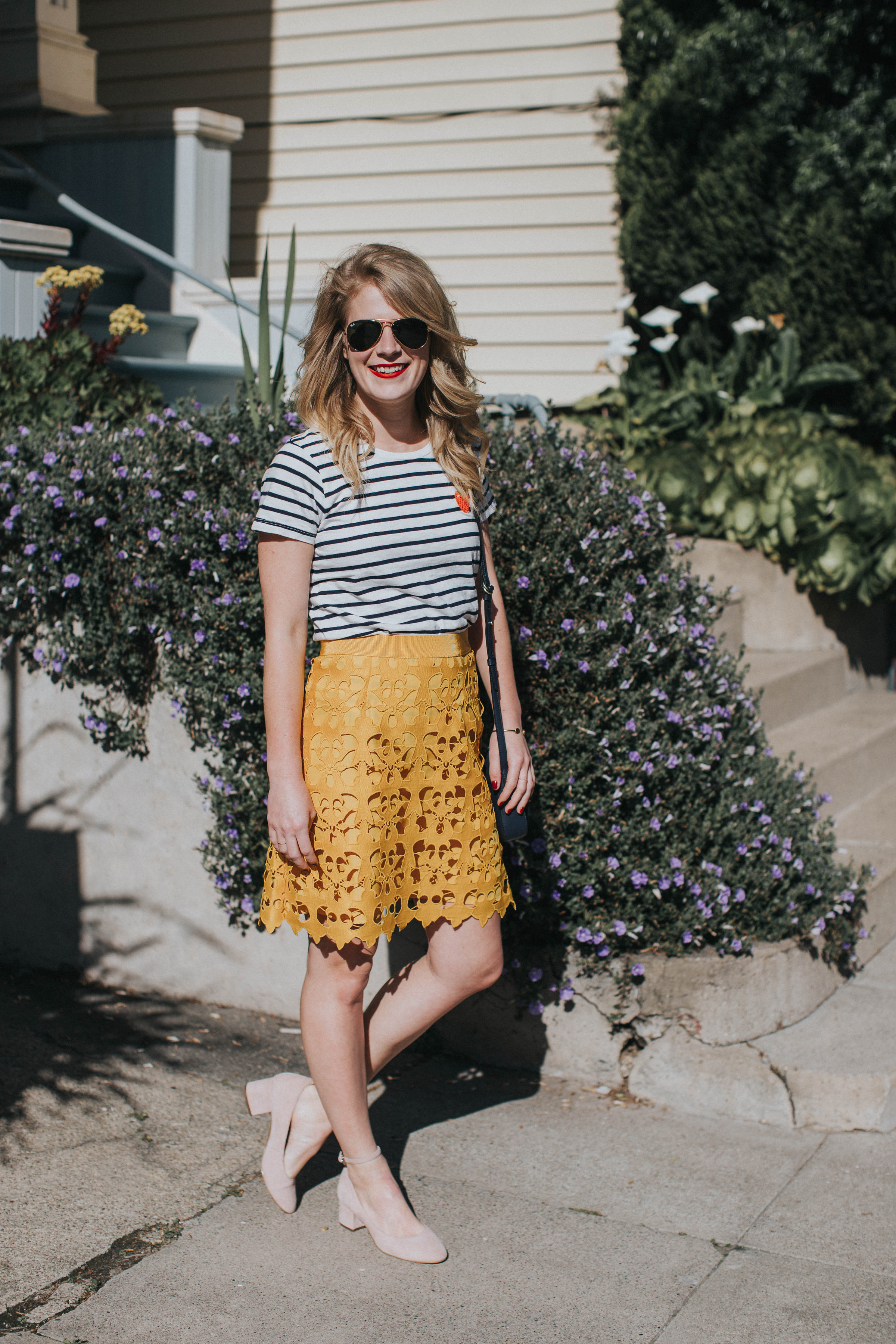 79843c9ea9 Strawberry Stripes | Cait Weingartner wears a LOFT lace skirt with J. Crew  striped tee ...