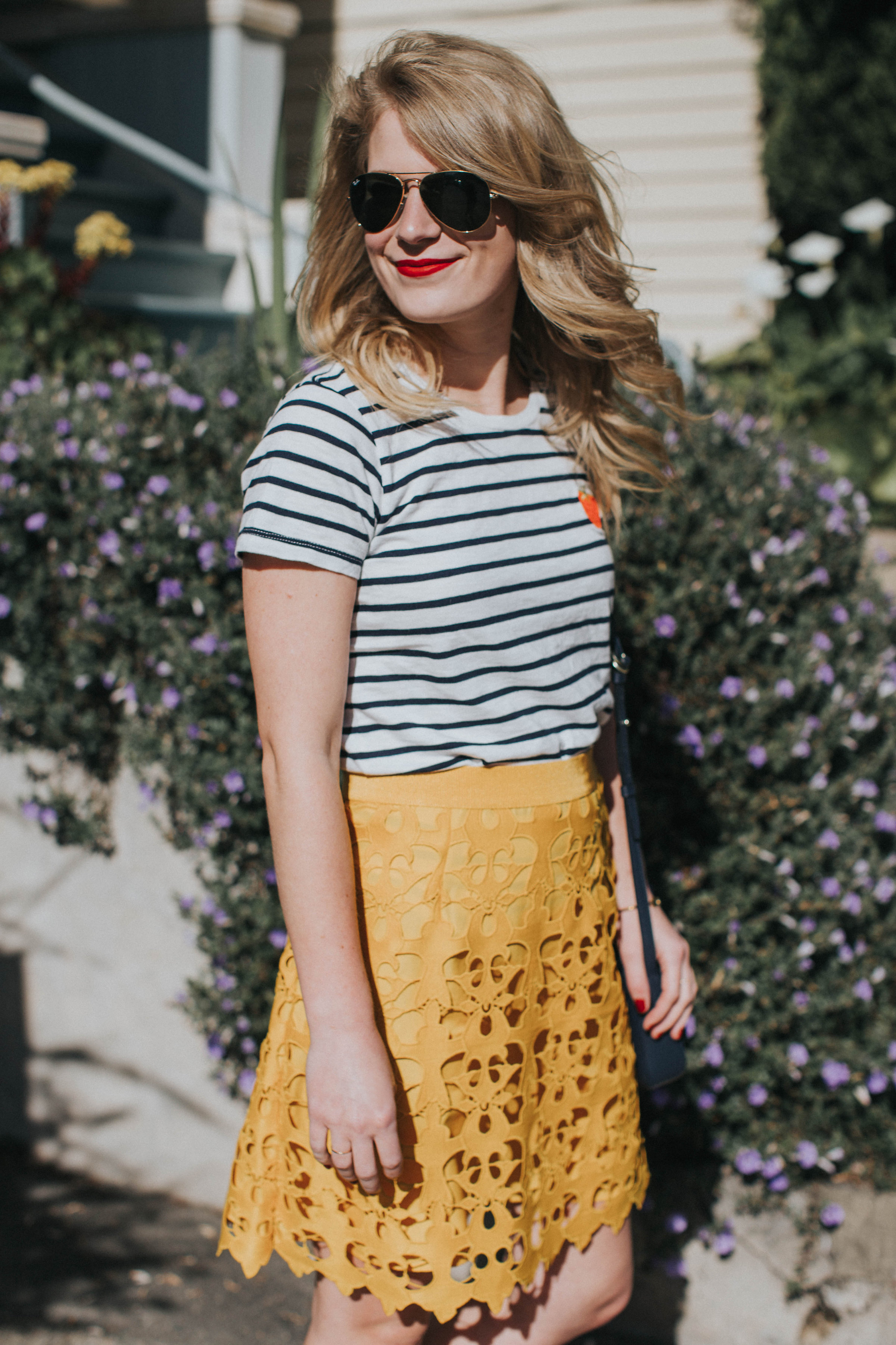 Strawberry Stripes | Cait Weingartner wears a LOFT lace skirt with J. Crew striped tee and Steve Madden heels.