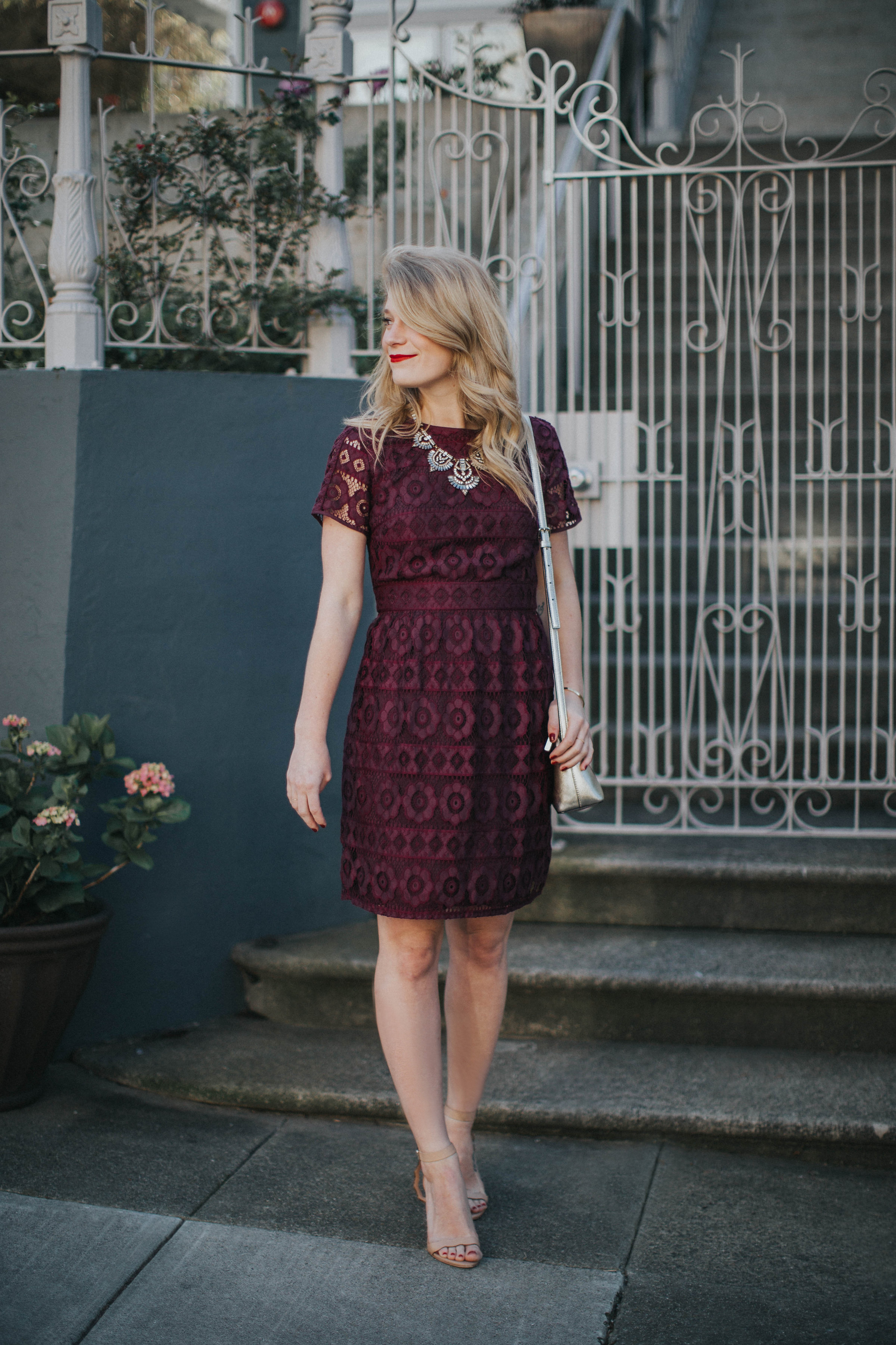 This purple LOFT lace dress is the best for spring weddings paired with a BaubleBar statement necklace and Loeffler Randall sandals.